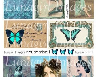 AQUAMARINE digital collage sheet DOWNLOAD turquoise BLUE vintage images antique ephemera printable altered art wings women frames fantasy