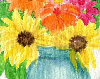 Original Zinnias, Sunflower watercolor, Blue Canning Mason Jar 4 x 6 Watercolors Flower Painting, Small Floral Wall Art, floral artwork