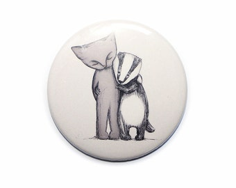Badger Cat pocket mirror - round hand compact badgers cats illustration - 76mm - 3 inches - valentines day size mothers day gift