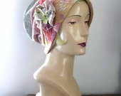 Hydrangea Mama Hat, Flowers, Vintage Fabrics, Lilac, Pink, Green, Apricot, Boho, Clothing, Rustic, Pretty