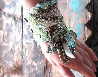 Gypsy Bracelet, Mountain Lake, Blue, Aqua, Ice, Pearl, Sparkle, Crystal, Gemstone, Charm Bracelet, Bohemian