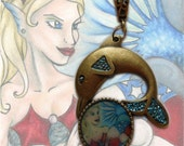 Dolphin Necklace - American Mermaid Art Pendant