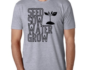 Garden Tshirt Mens Vegan Vegetarian Gardening Shirts Screen printed Clothing Nature Inspired Graphic Plants