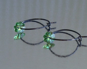 Peridot Sparkle - Swarovski Crystal And Oxidized Sterling Silver Hoop Earrings