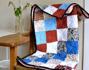 Restored Vintage Patchwork Quilt Child or Throw Size Classic Colorful Prints