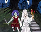 Gothic ghost crypt sisters, original art, 8 x 10 acrylic painting haunted zombie and mummy spooky girls in cemetery/graveyard
