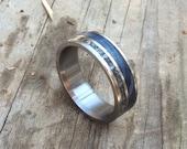 Wedding Ring, Titanium Ring, Blue Box Elder Meteorite Ring, Custom Made Ring, Wedding Ring, Wood Ring, Meteorite Ring, Meteorite Inlay Ring
