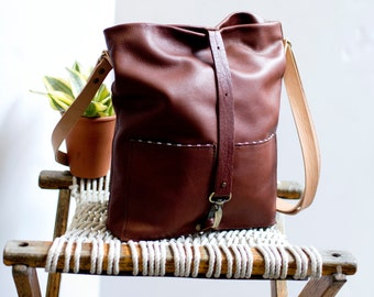 Women's Leather Tote, Leather Crossbody Market Bag, Market Tote, Leather Satchel:  The TOM TOM TOTE in Cognac Brown Leather by Awl Snap