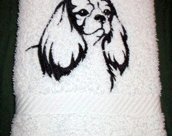 Cavalier Spaniel  White Bath Hand Towel Machine Embroidery