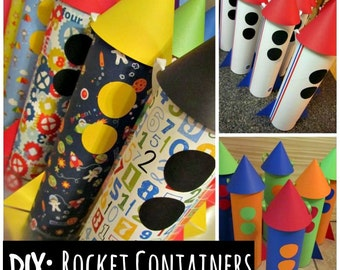 """DIY PDF: Rocket """"Goody Bag"""" Container Tutorial with Template and Detailed Instructions - Digital File DIY Astronaut Space"""