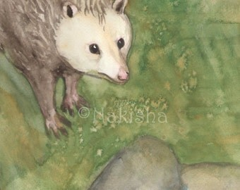 Original Art - The Hermit - Watercolor Opossum Painting -The Badgers Forest Tarot