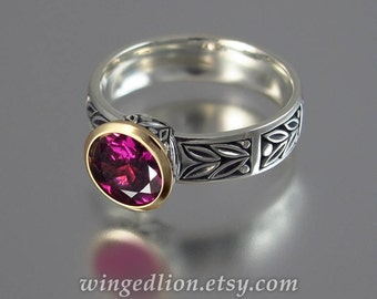 LAUREL CROWN silver &14k gold ring with Rhodolite