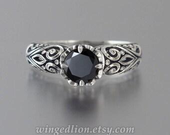 Engagement ring BEATRICE 1ct Black Diamond 14K gold