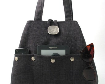 gray handbag, fabric tote bag, grey purse, shoulder bag, diaper bag, multi pocket bag , shoulder purse, hobo bag