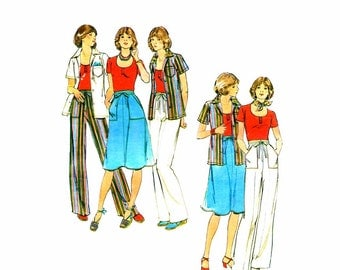 1970s Misses Shirt T-Shirt Skirt Pants Butterick 4659 Vintage Sewing Pattern Back Wrap Skirt Straight Leg Pants Size 14 Bust 36