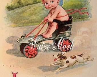 Digital download Instant. Kewpie on roller skate with dog.Romance. Great. Decoupage, collage,sewing.ornaments