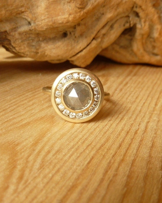 Rose Cut Diamond, Channel Set Halo Ring - Deposit