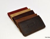 Kamali Leather Business Card Case / Slim Wallet with Free Monogram - Personalized Gift for Man Boyfriend Husband Brother Dad Grad