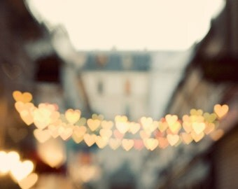 "Paris Photography, Large Wall Art Print, Heart Lights Paris Street, Romantic Travel Fine Art Photography ""The Heart Has Its Reasons"""