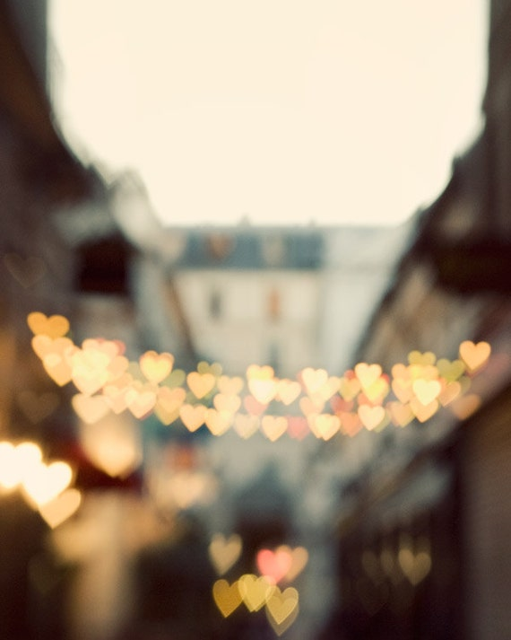 Paris Street with Heart Shaped Lights, Paris Photography, Spring, Romance, Love, Pastel Wall Art - The Heart Has It's Reasons