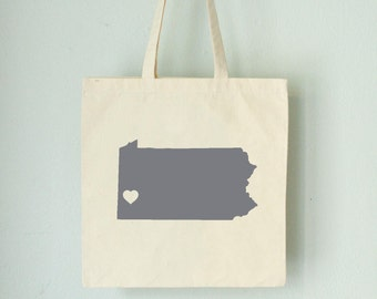 Pennsylvania LOVE Tote Pittsburgh GRAY state silhouette with heart on natural bag