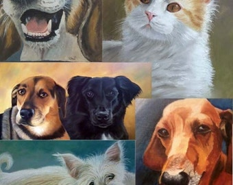 8x10 Custom Pet Portraits in oil or pastel of dogs, cats, horses, any pet from your photo FREE SHIPPING