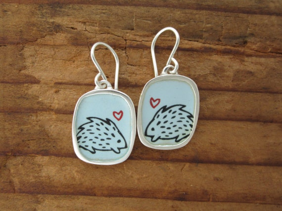 Hedgehog Earrings - Light Blue Vitreous Enamel and Sterling Silver Earrings with Porcupine Drawings