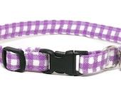 Cat Collar - Purple Gingham - Breakaway Safety Cute Fancy Cat Kitten Collar
