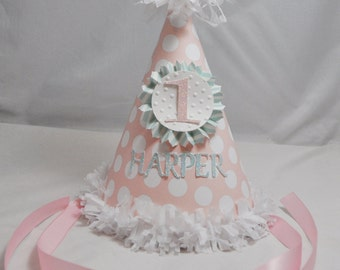 Shabby Chic 1st Birthday Party Hat Girl- Personalized