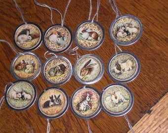 12 Assorted Primitive Vintage Style Easter Bunny Rabbit Metal Rimmed Hang Tags - Tie Ons - Gift Tag - Scrapbooking - Ornies