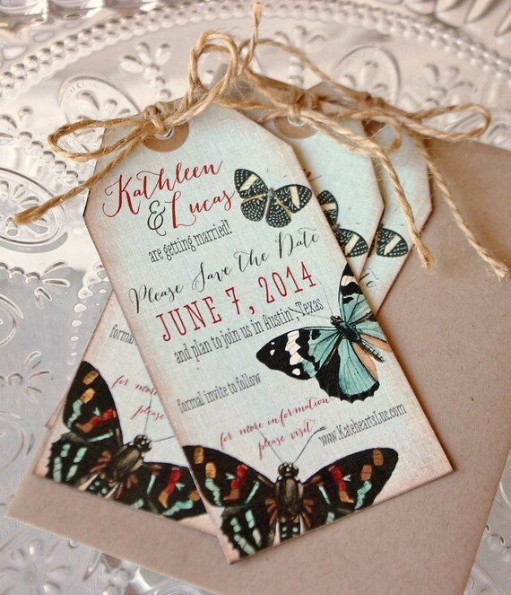 Wedding Save the Date-Vintage Butterfly Shipping Tag Magnets