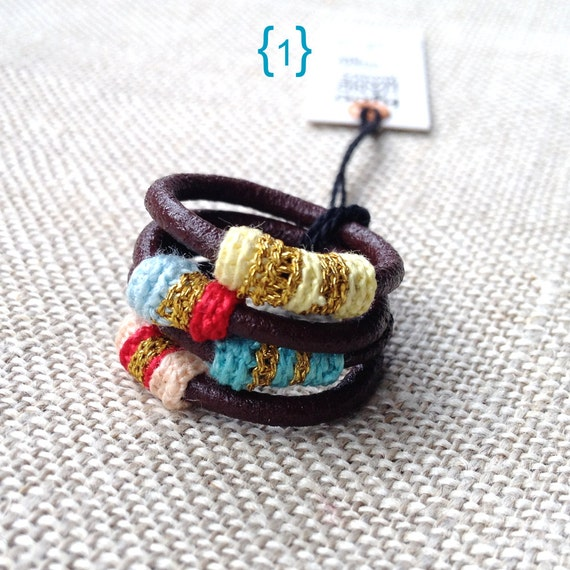 Leather and cotton stacking rings