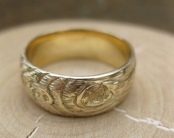 Mens fall wedding band GOLD wood grain ring PLYWOOD 14 kt yellow faux bois sz 8 ready to ship