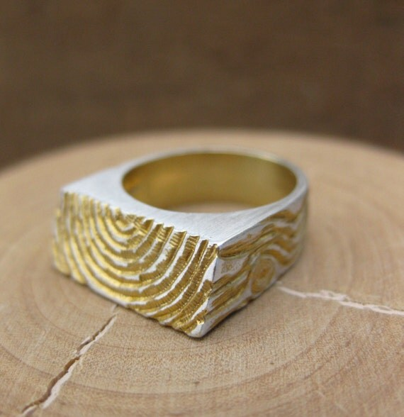 woodgrain ring golden PLANK gold plated sterling silver sz 6
