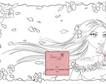 Digital stamp - Villemoart -  SPRINGTIME - Printable Coloring Page Fantasy Angel Art