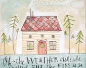 christmas art - christmas cottage - folk painting - watercolor,  8 x 10 limited edition and archival print by cori dantini
