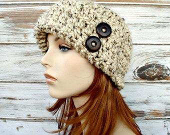 Crochet Hat Womens Hat 1920s Flapper Hat - Garbo Cloche Hat Oatmeal Crochet Hat - Oatmeal Hat Oatmeal Beanie Womens Accessories Winter Hat