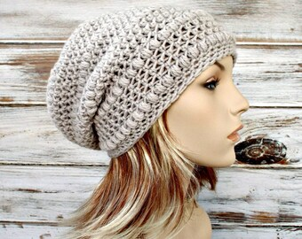 Crochet Hat Womens Hat - Penelope Puff Stitch Slouchy Beanie Hat in Flagstone Greige Grey Beige Crochet Hat - Grey Hat Womens Accessories