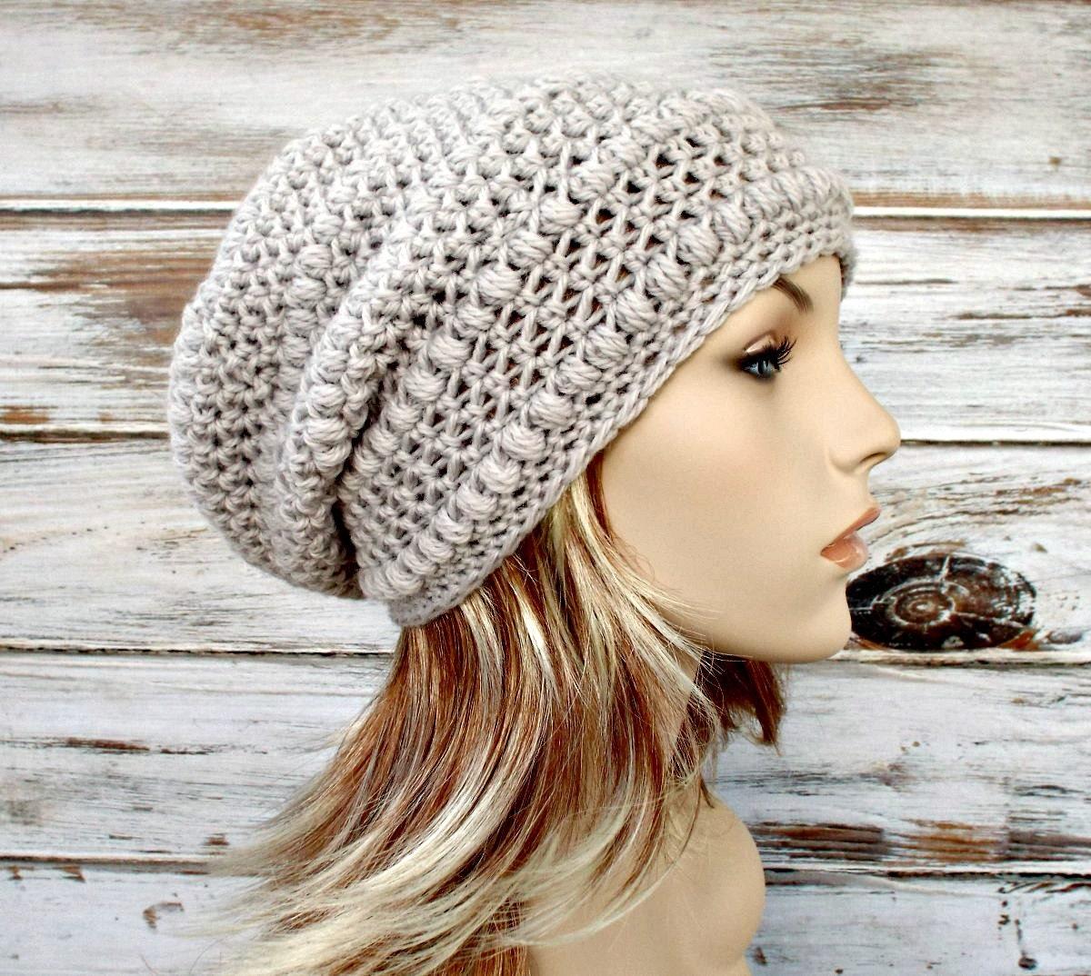 Crochet Slouch Hat: Crochet Hat Womens Hat Penelope Puff Stitch Slouchy Beanie