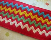 "Vintage Trim Red Rick Rack Woven 2 yards 2"" wide white green yellow blue zig zag stripes"