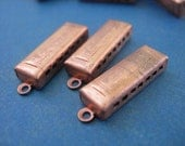 Vintage Harmonica Charms miniature in Copper lot of 3