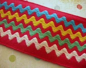 "Vintage Trim RED Rick Rack Woven 2 yards 2"" wide white green yellow blue zig zag stripes New Condition"