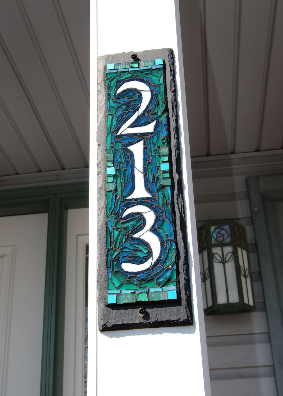 Vertical Narrow Digit Mosaic House Number Slate
