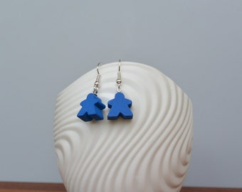 Blue mini Carcassonne meeple earrings with nickel-free silverplated earwires