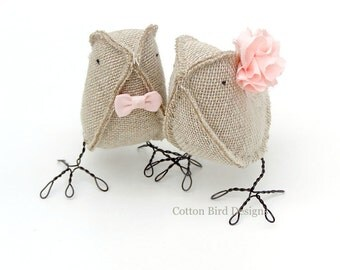 Burlap Birds Wedding Cake Topper Wedding Love Birds Rustic Barn Barnyard Vineyard Winery Garden Outdoor Wedding