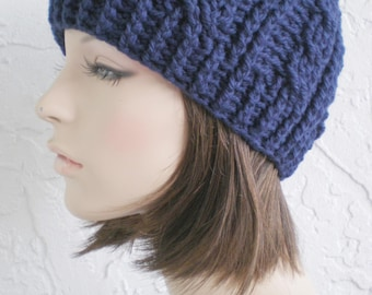 hand crochet beanie cable hat women accessory wool hat navy hat  ~ cable hat ~ navy   - made to order
