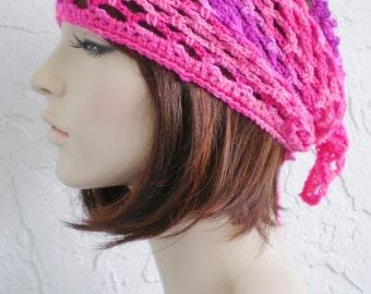 hand crochet bandana dorag pirate hat women bandana men bandana ~ gypsy spirit mesh dreadlock snood ~ neon pink - UNISEX