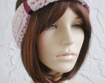 hand crochet Headband Headwrap Earwarmer ear warmer women headband hair womens accessories  ~ twisted sisters ~ cable turban ~ pink heather