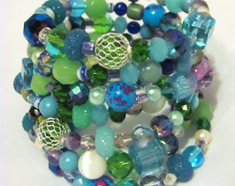 7 Layer Memory Wire Bracelet in Blues, Greens, Purples and White Glass Resin Pearl Stone Faceted Netted Sugared Gift Idea for Girlfriends