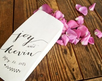 Wedding Favor or Petal Bags  - Personal Calligraphy - Candy, Popcorn, Flowers, Confetti - Tall white favor bags - 25 White Bags